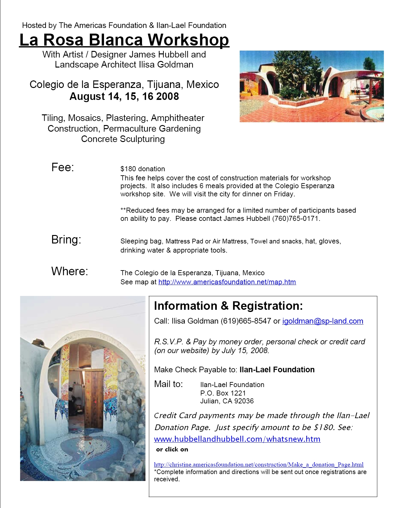 La Rosa Blanca 2008 Flyer linked to Registration Form